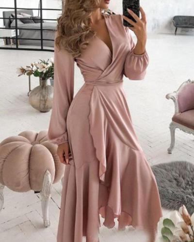 Ladies Fashion And Elegant Ruffled Hem Dress