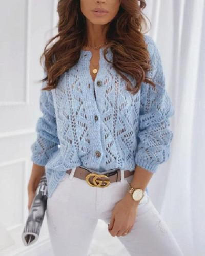 Mohair Geometric Pattern Crochet Hollow out Cardigan Fashion Knitted Coat