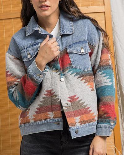 Lapel Loose Denim Stitching Woolen Coat