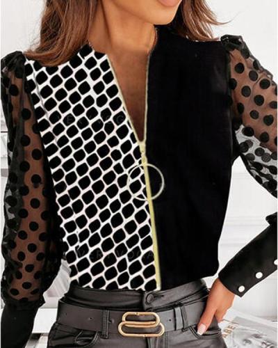 Fashion Color Block Zipper Shirt