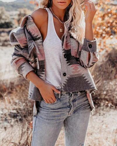 Retro Geometric Print Woolen Loose Fashion Jacket