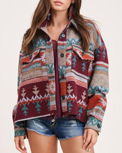 Vintage Printed Woolen Long-sleeved Jacket