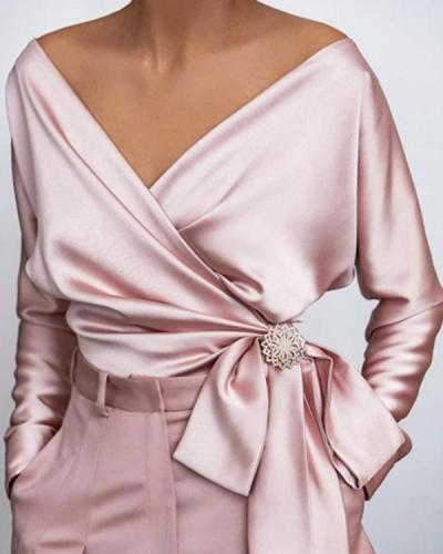 Fashion Knotted V-neck Satin Shirt