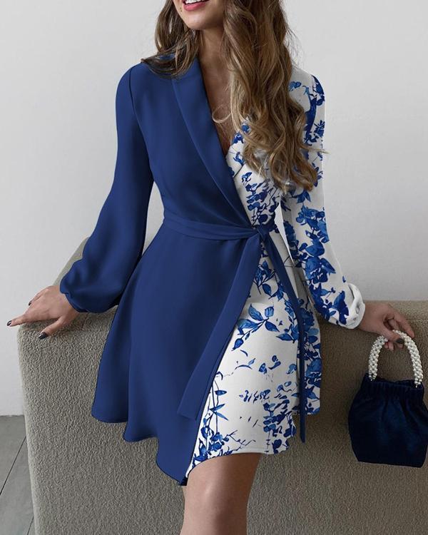 Colorblock Floral Print Surplice Neck Belted Dress