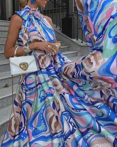 Bow Knot Tie Halter Neck Party Dress Formal Maxi Dress Classy Swing Dress