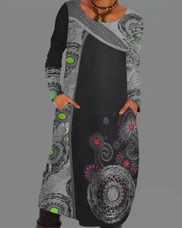 Color Block Pockets Vintage Printed Long Sleeve Dress