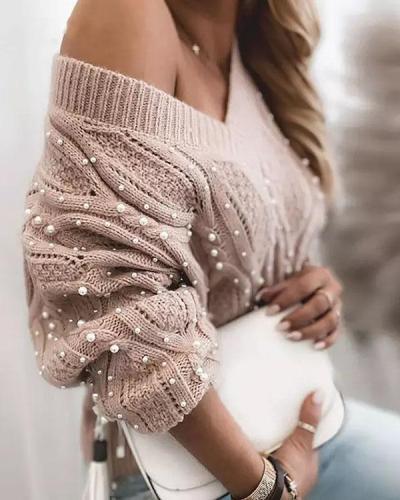 Sexy V Neck Crochet Pattern Beaded Knittting Warm Sweater
