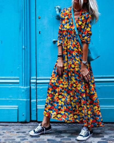 Casual Holiday Floral Print Daily Date Dress Sweet Long Sleeve Dress