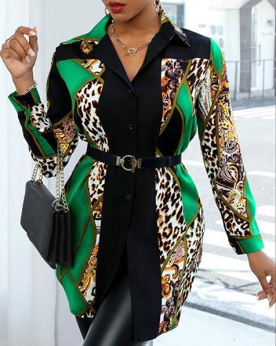 Women's Fashion Print Contrast Shirt