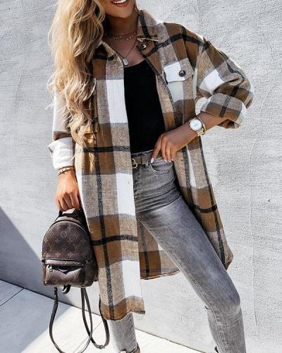 Loose Fit Plaid Print Autumn Long Coat Casual Fashion Vintage Shirt
