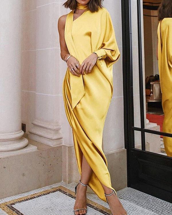 Ladies Elegant Maxi Dress Evening Dress One-shoulder Asymmetric Pleated Side Slit Dress