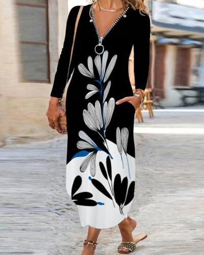 Floral V Neckline Maxi A-line Dress