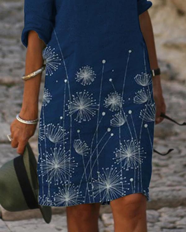 Floral Print V-Neckline Above Knee Half Sleeve Dress