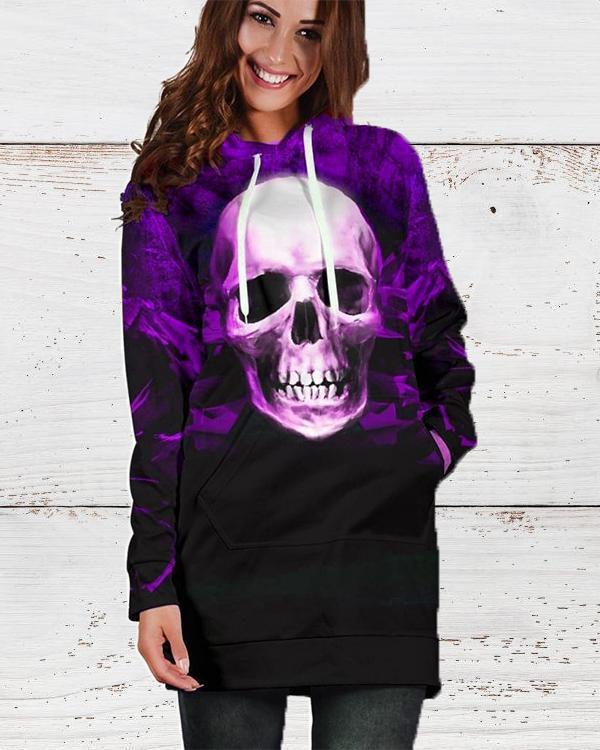 Halloween Skull Gradient Hooded Long Sleeve Sweatshirt