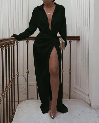 High Waist Slit Floor Length Dress Long Sleeve Lapel Sexy Dress