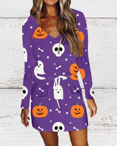 Halloween V-neck Printed Long Sleeve Dress