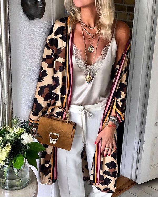 Fashion Leopard Print Loose Mid-length Cardigan Jacket