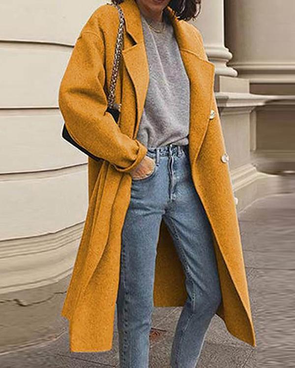 Elegant Plain Turn Down Neck Women Plain Long Coats