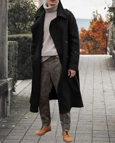 Men British Style Fashion Solid Heavy Weight Long Trench Coat