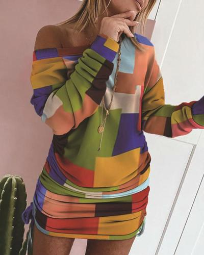 Women Color Block Long Sleeve Dress