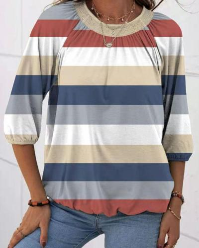 Color Block Latern Sleeve T-shirt