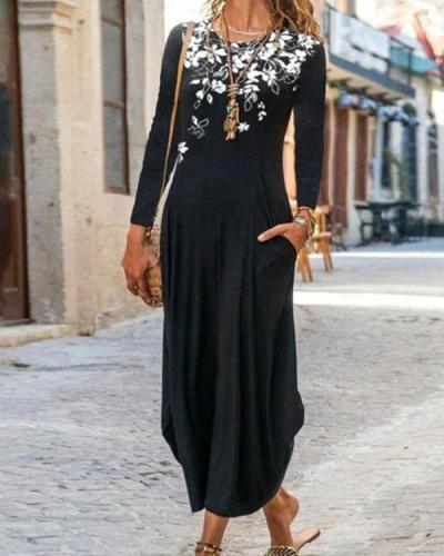 Stripe/Floral Print Crew Neckline Long Sleeve Vintage Maxi A-line Dress