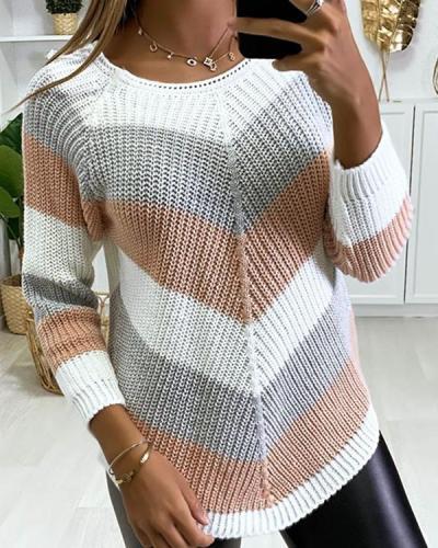 Stripe Round Neck Casual Sweaters