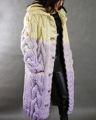 Winter Hooded Chunky Knit Button Cardigan Tie Dye Long Coat With Pockets