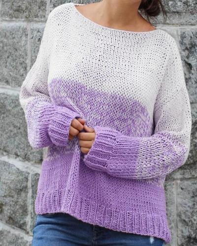 Crew Neck Long Sleeve Knit Pullover Sweater