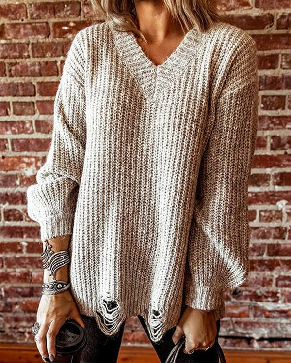 Ripped Knit Long-sleeved Sweater