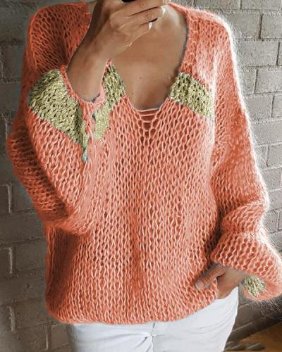 Casual V-Neck Gold Silk Knitted Sweater