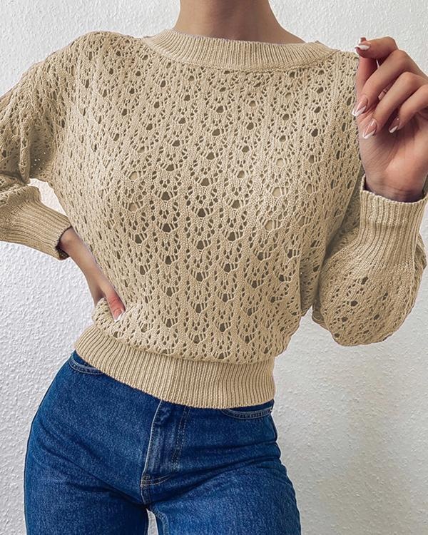 Crew Neck Pointelle-knit Pullover Sweater