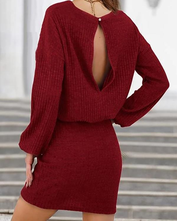 Knit O Neck Drawstring Long Sleeve Mini Dress