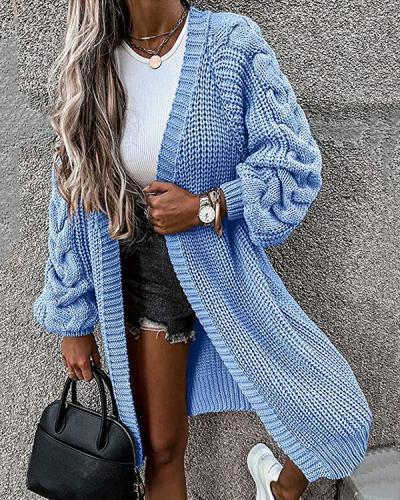 Winter Collarless Chunky Knit Cardigan Twist Weaving Sleeve Long Coat