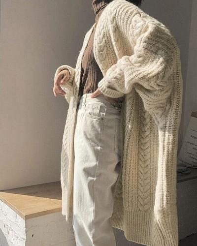 Winter Collarless Solid Cable Knitted Cardigan Loose Long Coat