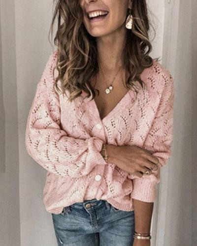 Autumn Pattern Crochet Hollow out V Neck Button Cardigan Fashion Knitted Coat