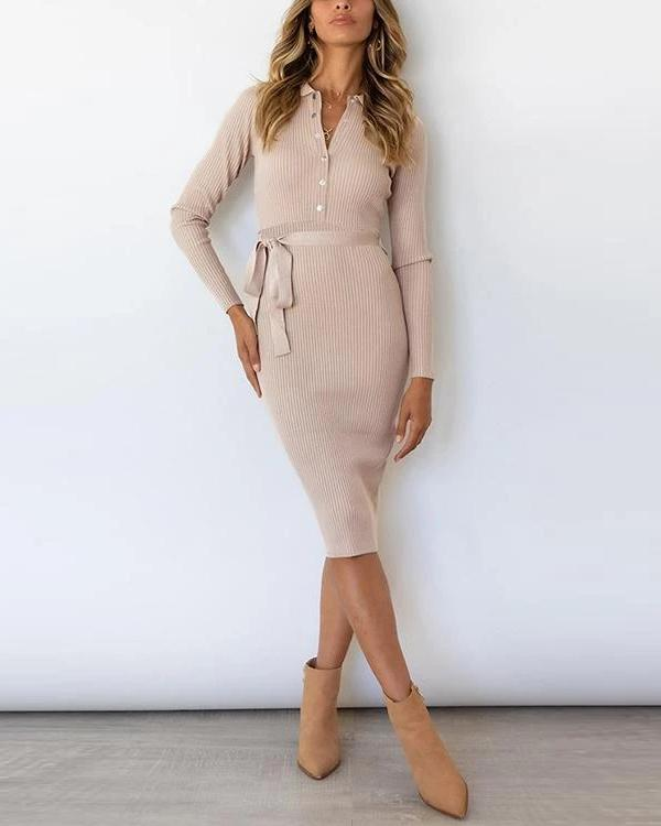 Button Knit Bleted Long Sleeve Slim Dress