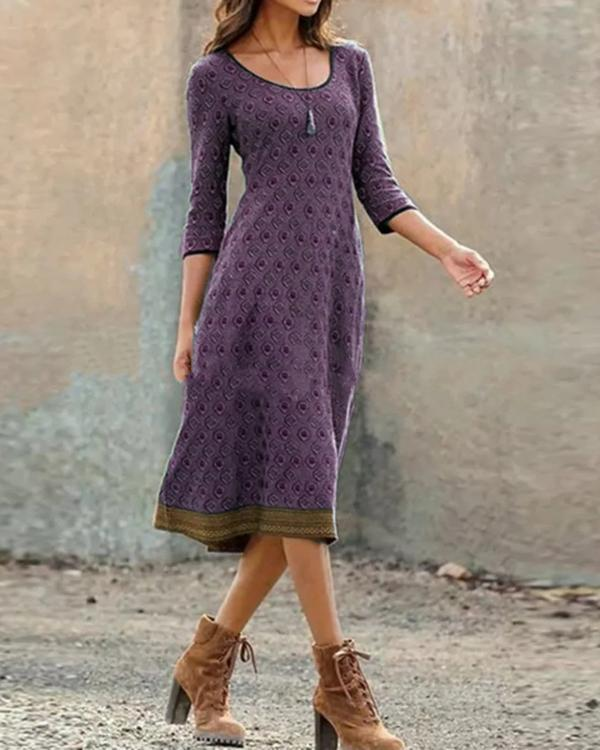 Plus Size Casual Printed Geometric Dresses