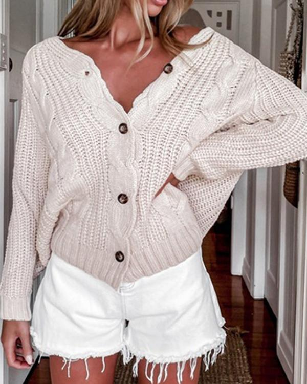 V-neck Long-sleeved Casual Knitted Sweater