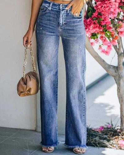 Women Mid Rise 90s Tassel Denim Vintage Straight Jeans