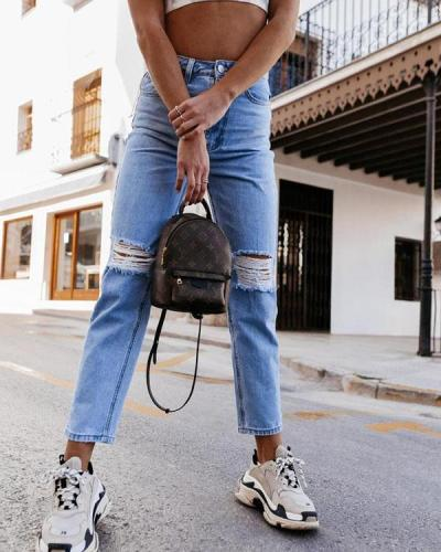 Casual Slim Fit Ripped Denim Pencil Cropped Trousers