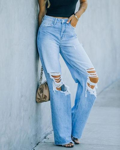 Women Mid Rise 90s Flare Denim Ripped Jeans