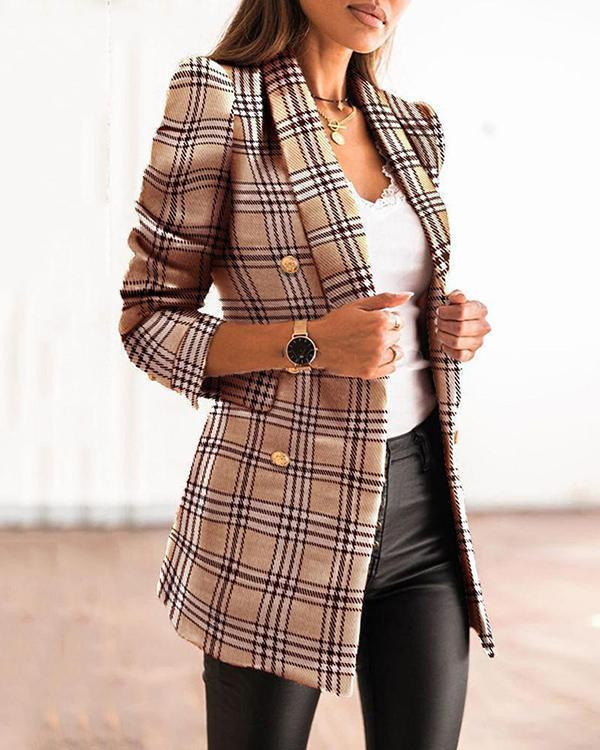 Long-sleeved Double-breasted Lapel-collar Printed Blazer