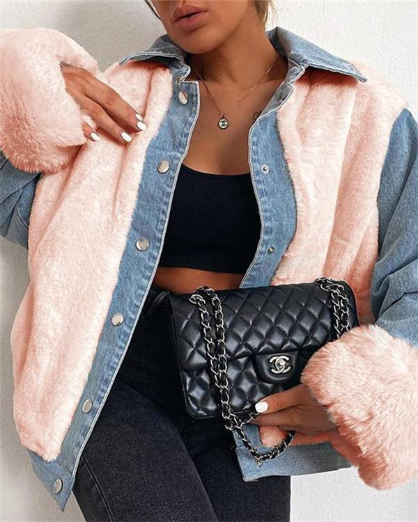 Plush denim stitching thermal jacket women's denim jacket