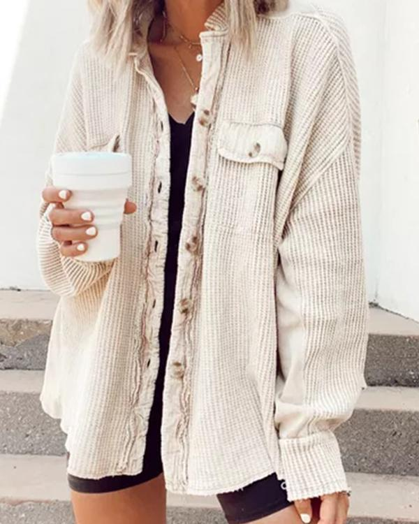 Long sleeve loose button jacket