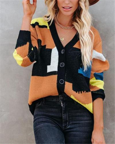 Street-breasted single-breasted set stitching sweater