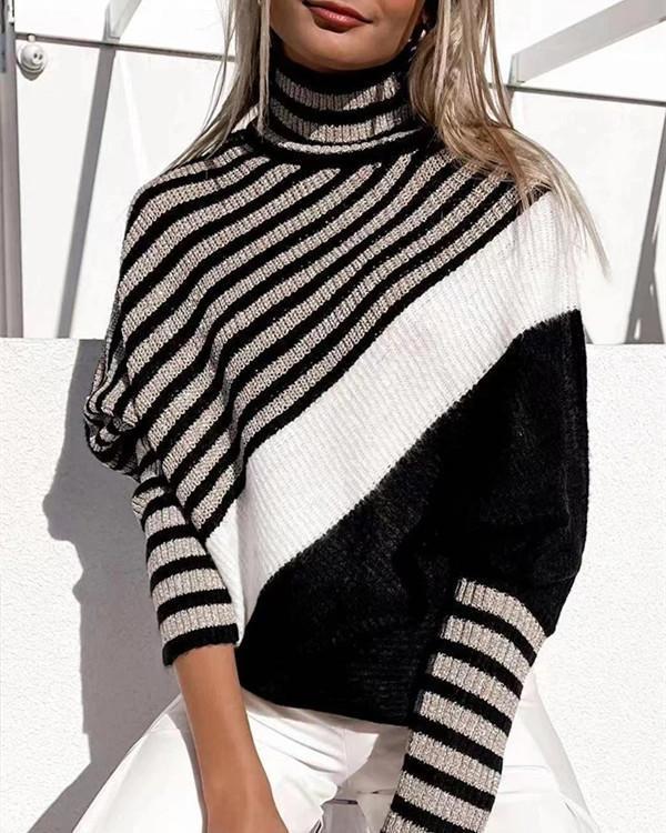 Bat sleeve color block sweater pullover