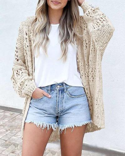 6 Colors Hollow out Loose Fit Fashion Knitted Cardigan