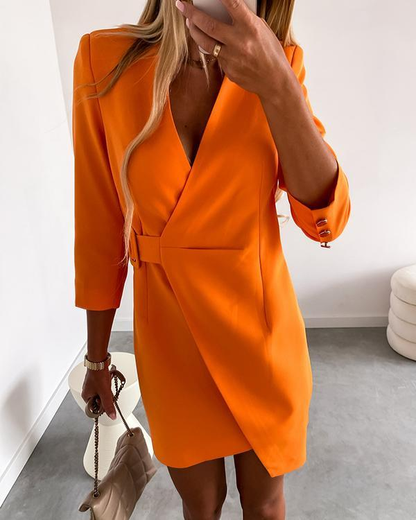 Casual Commuter Lace-up Long-sleeved Dress