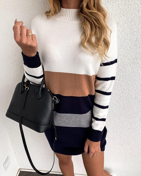 Colorblock Striped Turtleneck Dress